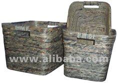 Cesta do armazenamento feito de reciclagem de jornal-Artesanato de vime-ID do produto:11937957-portuguese.alibaba.com