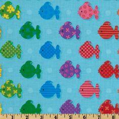 Tossed Fish Blue - Discount Designer Fabric - Fabric.com