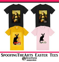 Mona Lisa and Le Chat Noir, fun and unique Easter Tee's. Check out the SpoofingTheArts Store at Skreened!