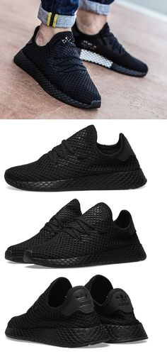 low priced ffb9f 018dd Athletic Shoes 15709  New Adidas Originals Deerupt Runner Sneaker Mens  Triple Black White All Sz