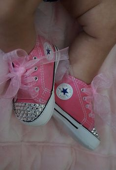 Pink Bling Converse by GirlieBlingByJess on Etsy Baby Girl Converse 7292dcba2