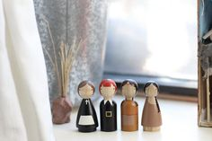 SALE Wooden Peg Dolls Pilgrims and Indians // by goosegrease