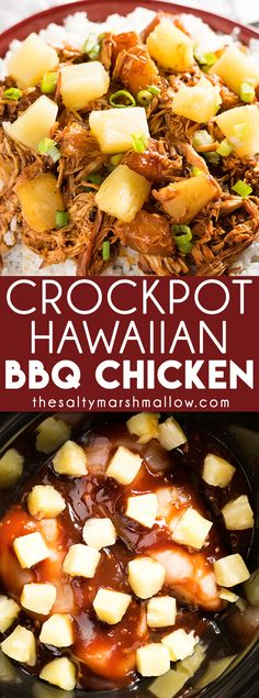 Crockpot Hawaiian BBQ Chicken: This Hawaiian pineapple BBQ chicken is a weeknight dinner made healthy and easy right in the crockpot! This dinner is perfect for summer with tender chicken smothered in your favorite bbq sauce and topped with sweet pineapple. Quick and easy with only five ingredients.  One of our family favorite crockpot chicken recipes!