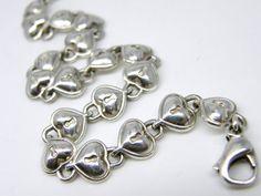 925 Sterling Silver Tiffany & Co. Puffed Padlock Heart Chain Link Bracelet teamvintageusa ecochic team