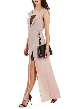 Topshop Lace Trim Flutter Sleeve Maxi Dress (Regular
