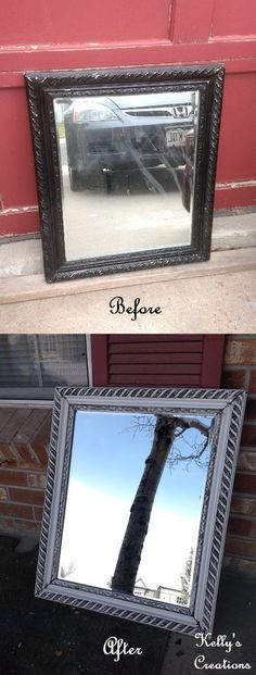 White Picture Frame With Black Antiquing Refinished By Kellys