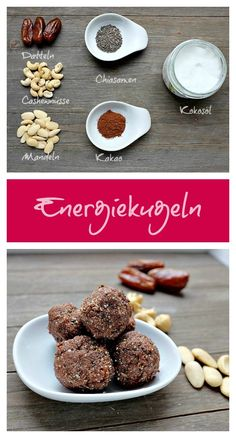 Energy balls made from dates, nuts & coconut oil - quick recipes .- Energiekugeln aus Datteln, Nüssen & Kokosöl – Schnelle Rezepte aus meiner Küche – Ostern Energy balls from dates nuts & coconut oil Quick recipes from my kitchen - Low Carb Desserts, Vegan Desserts, Raw Food Recipes, Low Carb Recipes, Quick Recipes, Superfoods, Law Carb, Lactation Recipes, Food Combining