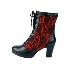 Inamagura Half Boots Black and Red Lace | horror-shop.com