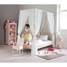 Metal 90 x 190cm child's four-poster bed in ivory