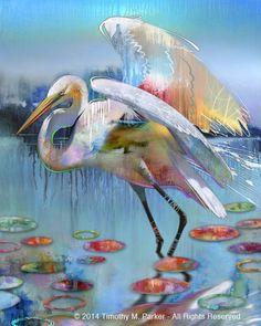 """Abstract Bird Painting, Contemporary Art, """"Blue Mangrove Egret"""" Artist Tim Parker - Art2D Gallery, Modern Art Original Paintings and Fine Art Prints"""