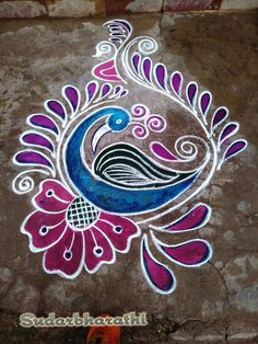 Rangoli Designs Latest, Rangoli Designs Flower, Rangoli Border Designs, Colorful Rangoli Designs, Flower Rangoli, Beautiful Rangoli Designs, Kolam Designs, Colour Rangoli, Peacock Rangoli