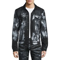 PRPS Paint-Splattered Button-Down Denim Jacket ($320) ❤ liked on Polyvore featuring men's fashion, men's clothing, men's outerwear, men's jackets and black
