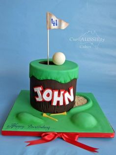Golf theme birthday cake - Cake by curiAUSSIEty custom cakes Birthday Cakes For Men, Birthday Ideas, Cake Icing, Cupcake Cakes, Cupcakes, Fondant Cakes, Golf Course Cake, Thema Golf, Sports Themed Cakes