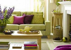 Living Room Ideas Purple And Green love the window treatments and purple sofa | live in it