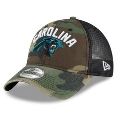 5d516386a Men s Carolina Panthers New Era Camo Woodland Camo Rugged Stack 9TWENTY Adjustable  Hat