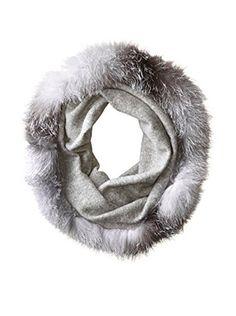 Sofia Cashmere Women's Fox Fur Trim Snood, Grey