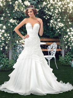 Sexy Trumpet Applique Sequin Lace-Up Wedding Dress 1