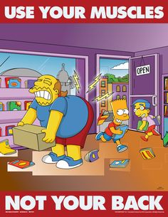 simpsons poster   simpsons safety posters simpsons back injury prevention s1123 rrp $ 19 ...