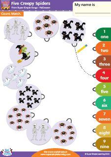 """Five Creepy Spiders"" Count & Match Halloween Worksheet from Super Simple Learning. #preK #kindergarten #ESL"