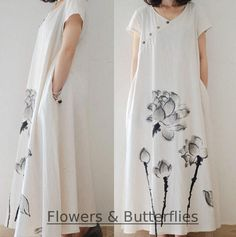 Women's Loose Chinese Painting Cotton Linen V Neck Summer Long Shirt Maxi Dress in Clothing, Shoes & Accessories, Women's Clothing, Dresses Boho Summer Dresses, Boho Dress, Long Linen Dresses, Women's Dresses, Maxi Shirt Dress, Comfortable Outfits, Modest Outfits, Cotton Linen, Dresser