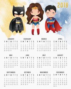 Calendario 2018 de la Liga de la Justicia para Imprimir Gratis.