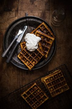 Blender waffles with coconut cream.
