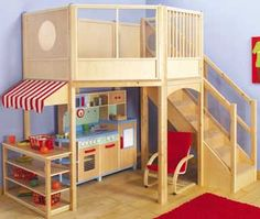 Toddler Wooden Indoor Climbing Gym And Kitchen Play Area