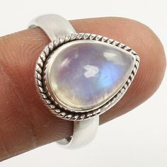 925 Sterling Silver Ring Size US 7.5 Real Fire RAINBOW MOONSTONE Pear Gemstone #Unbranded
