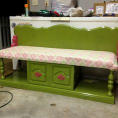 diy headboard bench | DIY bench. With old coffee table and headboard! I ... | DIY Furniture