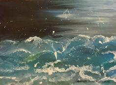 Seascape acrylic on canvas. Airplane View, Anna, Artist, Artwork, Work Of Art, Auguste Rodin Artwork, Artists, Artworks, Illustrators