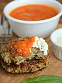 Parmesan Quinoa Pancakes with Whipped Feta Spread & Marinara Dipping Sauce - Mountain Mama Cooks