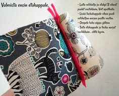 DIY: Pussukka tuplavetoketjulla - Punatukka ja kaksi karhua Walkabout, Sewing Patterns, Weaving, Purses, Crochet, Wallets, How To Make, Bags, Dressmaking