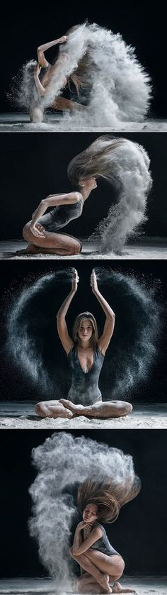 I love this series. The style of dance isn't exactly what I was looking for but her movements and the movement of the flour is. I would use color for the flour instead to liven it up and make it more festive for a music festival.