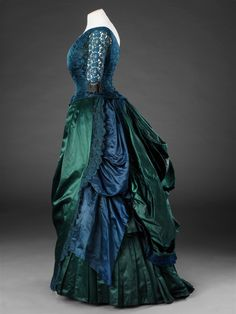 Fripperies and Fobs Evening dress, mid-1880′s From the John Bright Historic Costume Collection