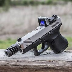 Custom Lone Wolf Glock 27 S&W with Trijicon RMR slide melt and compensator. Weapons Guns, Guns And Ammo, Airsoft, Glock Mods, Custom Guns, Fire Powers, Cool Guns, Assault Rifle, Tactical Gear