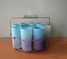 Vintage Blue and Purple Blendo Glasses and Ice Bucket Set with Caddy, Set of Eight