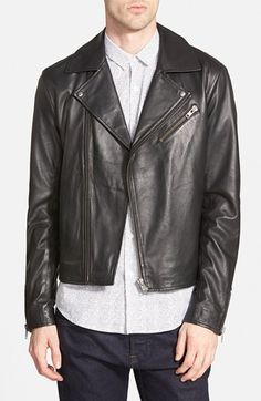 Topman Black Leather Biker Jacket (Nordstrom Exclusive) available at #Nordstrom