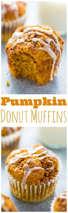 Glazed Pumpkin Donut Muffins!!! Made with healthier ingredients and ready in less 30 minutes. #vegan