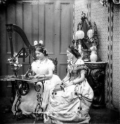 Two Sisters Sewing, 1865
