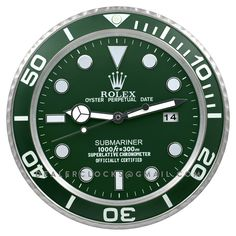XL sized Large Dealer display wall clock based on the unique and iconic Rolex Submariner. Please take note that this is a larger clock with differen. Apple Watch Custom Faces, Apple Watch Faces, Rolex Watches, Watches For Men, Nice Watches, Vintage Watches, Luxury Watches, Rolex Submariner Green, Green Wall Clocks