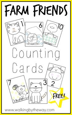 Farm themed counting cards for your preschooler. Work on numbers, counting, quantities, and fine motor skills at the same time! Activities To Do, Learning Resources, Handwriting Worksheets, Cool Stickers, Toddler Fun, Elementary Math, Walking By, Math Games, Fine Motor Skills