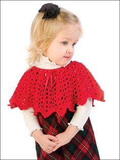 Shells & Picots Poncho - Deep scallops and a dressy ribbon neck trim nicely… Crochet Baby Poncho, Crochet Bebe, Baby Girl Crochet, Crochet Baby Clothes, Love Crochet, Crochet Scarves, Crochet For Kids, Crochet Shawl, Baby Knitting