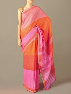 Pink Cotton Twill Diamond Saree