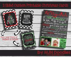 Custom 2 sided Chalkboard Christmas Card - Year in Review - Happy Holiday - Wishes for you - Customization - Printable - Digital File