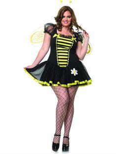 Plus size Halloween Costumes for Women. Bee Adult Plus Costume available at Teezerscostumes.com #plussizehalloweencostume #costumesforcurvygirls #curvycostumes #killercurves