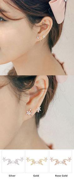 Sweet Lady Arc Hook Flower Silver Earring Studs for big sale! #earrings #studs #flower #silver
