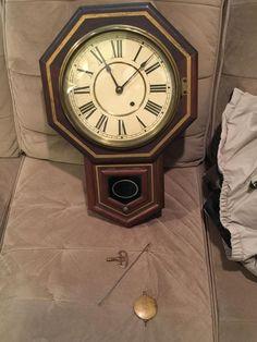 antique seth thomas regulator wall clock short drop octagon