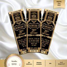 Great Gatsby Style Art Deco Party Invitation – prom, graduation, birthday 21 30 30 40 50 50 60 70 70 80 90 – print or digital, - New Sites Roaring 20s Birthday Party, Great Gatsby Themed Party, Great Gatsby Cake, Roaring Twenties Party, 21st Party, Themed Parties, Diy Party, Party Ideas, Prom Decor