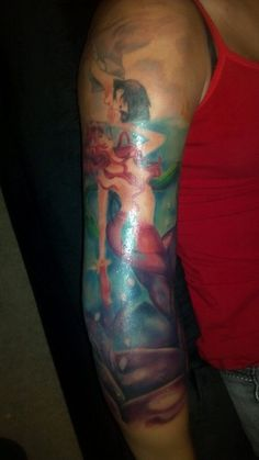 1000 images about tattoos on pinterest octopus tattoos for Little mermaid tattoo sleeve