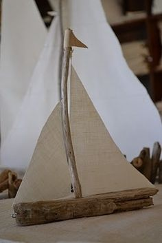 Sailboat made from driftwood...clever beach craft